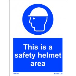 THIS IS SAFETY HELMET AREA  (20x15cm) White Vin. IMO sign 195733WV