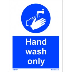HAND WASH ONLY   (15x20cm) White Vin. IMO sign 195737WV