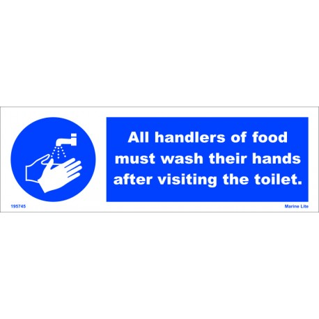 ALL HANDLERS OF FOOD MUST WASH  (10x30cm) White Vin. IMO sign 195745WV
