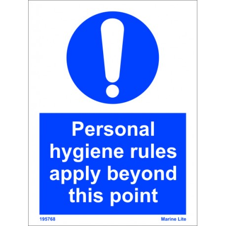 PERSONAL HYGIENE RULES APPLY  (20x15cm) White Vin. IMO sign 195768WV