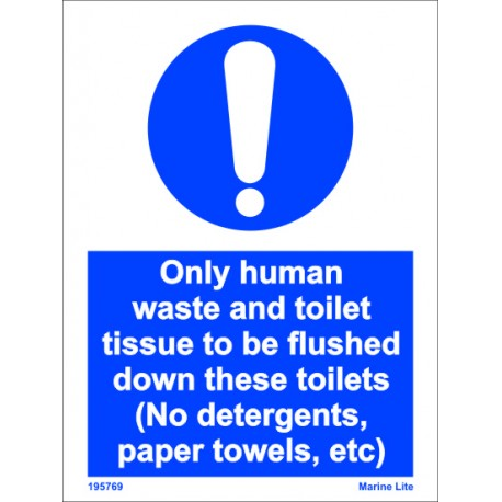ONLY HUMAN WASTE & TOILET TISSUE  (20x15cm) White Vin. IMO sign 195769WV