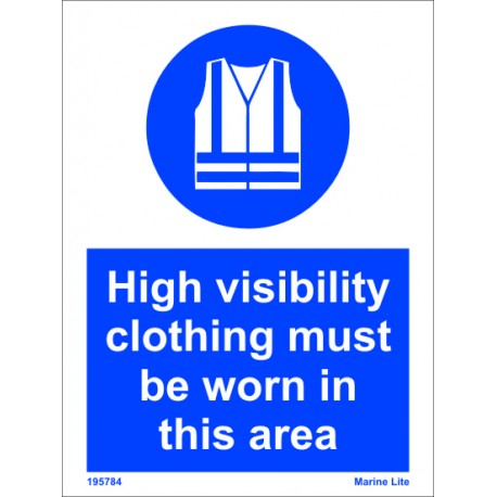 HIGHLY VISIBLE CLOTHING AREA  (20x15cm) White Vin. IMO sign 195782WV