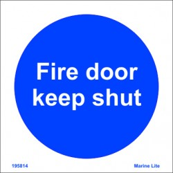 FIRE DOOR KEEP SHUT  (15x15cm) White Vin. IMO symbol 195814WV