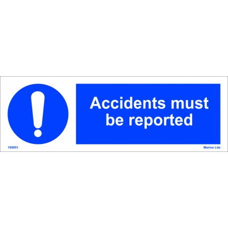 ACCIDENTS MUST BE REPORTED (10x30cm) White Vin. IMO symbol 195851WV