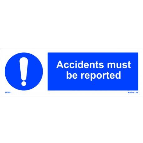 Señal IMO DEBE DARSE PARTE DE LOS ACCIDENTES (10x30cm) vinilo blanco autoadhesivo 195851WV