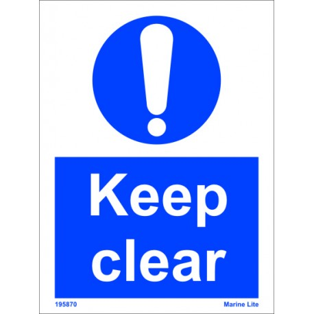 KEEP CLEAR  (20x15cm) White Vin. IMO symbol 195870WV