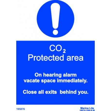 CO2 PROTECTED AREA  (20x15cm) White Vin. IMO symbol 195876WV