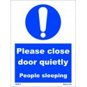 PLEASE CLOSE DOOR QUIETLY  (20x15cm) White Vin. IMO symbol 195877WV