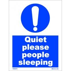 QUIET PLEASE PEOPLE SLEEPING  (20x15cm) White Vin. IMO symbol 195878WV