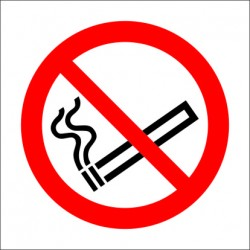 NO SMOKING  (10x10cm) White Vin. IMO symbol 208500(08)WV