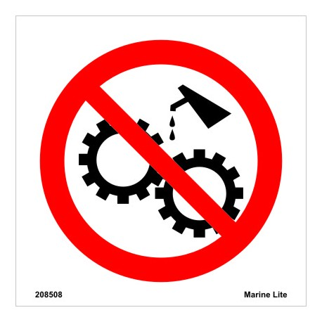 NO MAINTENANCE ON MOVING MACHINERY  (10x30cm) White Vin. IMO symbol 208508WV
