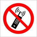 Señal IMO PROHIBIDO TELÉFONOS MÓVILES (15x15cm) vinilo blanco autoadhesivo 208510WV / PSS011