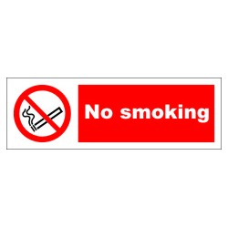 NO SMOKING  (10x30cm) White Vin. IMO symbol 208530WV