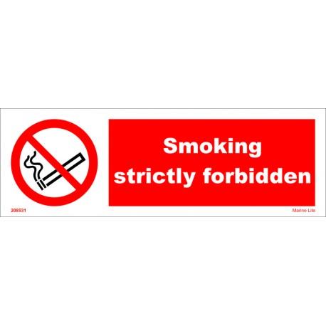 SMOKING STRICTLY FORBIDDEN  (10x30cm) White Vin. IMO symbol 208531WV