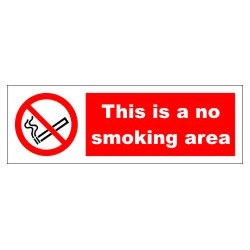 THIS IS A NO SMOKING AREA  (10x30cm) White Vin. IMO symbol 208532WV