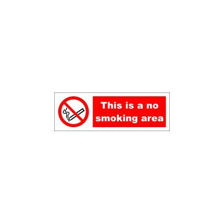 THIS IS A NO SMOKING AREA  (10x30cm) White Vin. IMO symbol 208532WV