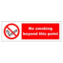 NO SMOKING BEYOND THIS POINT  (10x30cm) White Vin. IMO symbol 208533WV