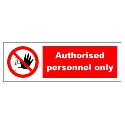 AUTHORISED PERSONNEL ONLY  (10x30cm) White Vin. IMO symbol 208545WV