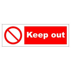 KEEP OUT  (10x30cm) White Vin. IMO symbol 208559WV