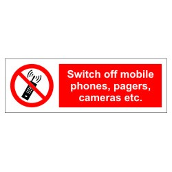 SWITCH OFF MOBILE,CAMERAS&PAGES  (10x30cm) White Vin. IMO symbol 208570WV