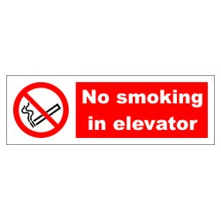 NO SMOKING IN ELEVATOR  (10x30cm) White Vin. IMO symbol 208575WV