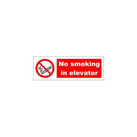 Señal IMO PROHIBIDO FUMAR EN EL ASCENSOR (10x30cm) vinilo blanco autoadhesivo 208575WV
