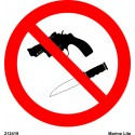 NO WEAPONS ALLOWED  (15x15cm) White Vin. IMO symbol 212419WV