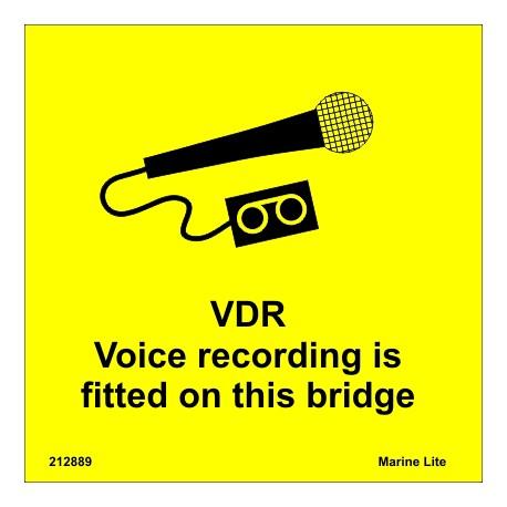 VDR VOICE RECORDING  (15x15cm) White Vin. IMO symbol 212889YV