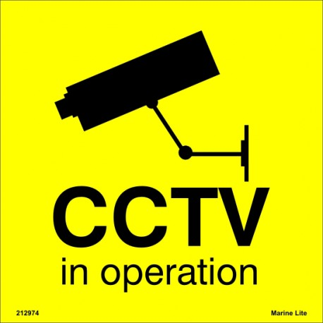 WARNING CCTV IN OPERATION  (15x15cm) White Vin. IMO symbol 212974(11)YV