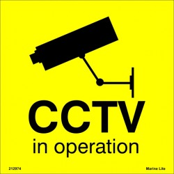 WARNING CCTV IN OPERATION  (20x20cm) Yellow Vin. IMO symbol 212974YV