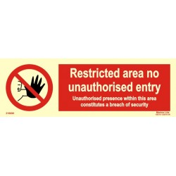RESTRICTED AREA-NO ENTRY  (10x30cm) White Vin. IMO symbol 218690WV
