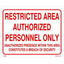 RESTRICTED AREA AUTHOR.PERS.ONLY (20x25cm) White Vin. IMO symbol 218695WV