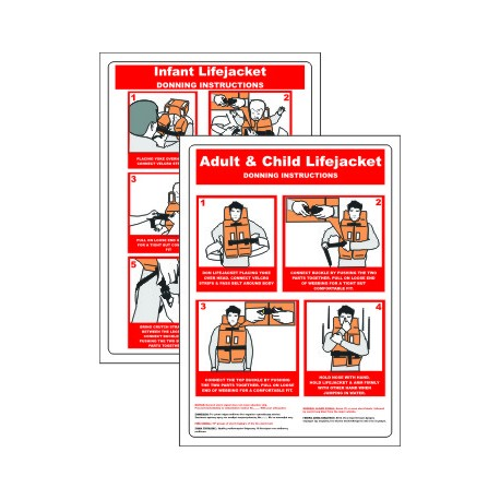 Póster LIFEJACKET DONNING INSTRUCTIONS  (45x32cm) White Vin. IMO symbol 221045LV