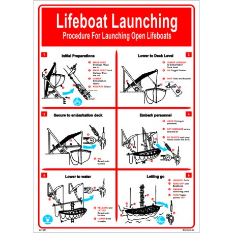Póster LIFEBOAT LAUNCHING  (45x32cm) White Vin. IMO symbol 221501WV