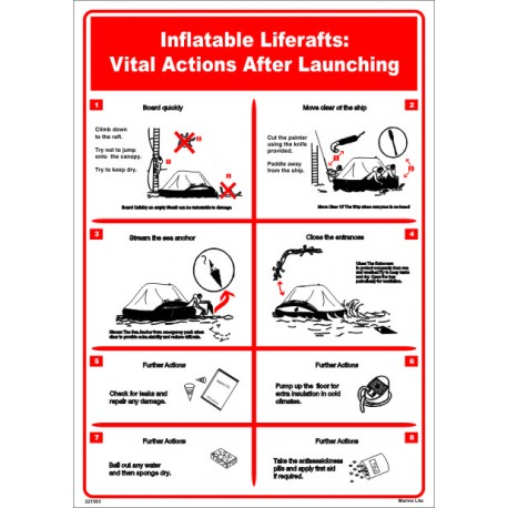 Póster INFLATABLE LIFERAFTS  (45x32cm) White Vin. IMO symbol 221503WV