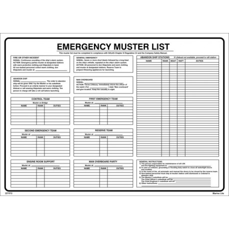 Póster EMERGENCY MUSTER LIST  (45x32cm) PVC IMO symbol 221512PVC