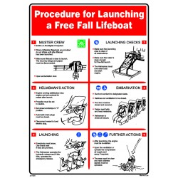 Póster FREE FALL LIFEBOAT LAUNCHING  (45x32cm) White Vin. IMO symbol 221520WV