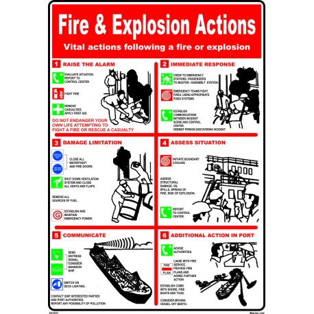 Póster FIRE & EXPLOSION ACTIONS Póster  (45x32cm) White Vin. IMO symbol 221531WV