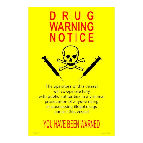 Póster DRUGS WARNING Póster  (30x20cm) Yellow Vin. IMO symbol 221537YV