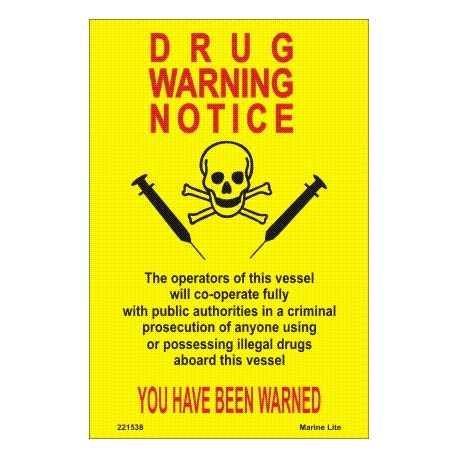 Póster DRUGS WARNING Póster  (15x10,5cm) Yellow Vin. IMO symbol 221538YV