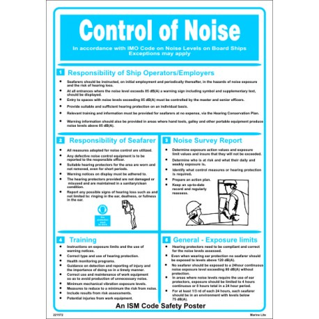 Póster CONTROL OF NOISE  (45x32cm) White Vin. IMO symbol 221572WV