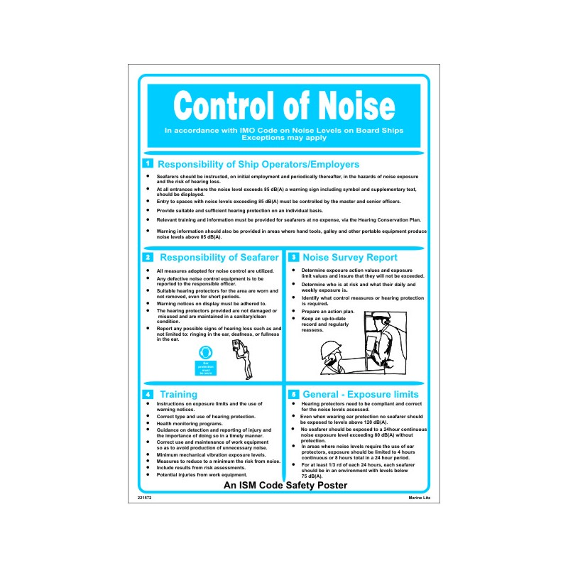 Póster CONTROL OF NOISE (45x32cm) White Vin  IMO symbol 221572WV