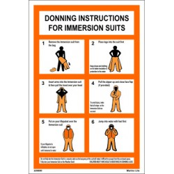 Póster IMMERSION SUIT DONNING INSTRUCTION  (30x20cm) White Vin. IMO symbol 229000WV