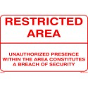 RESTRICTED AREA - UNAUTHORIZED PRESENCE WITHIN THE AREA  (20x30cm) White Vin. IMO symbol 230153WV