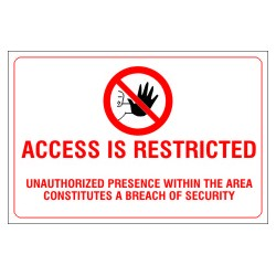 ACCESS IS RESTRICTED  (20x30cm) White Vin. IMO symbol 230171WV