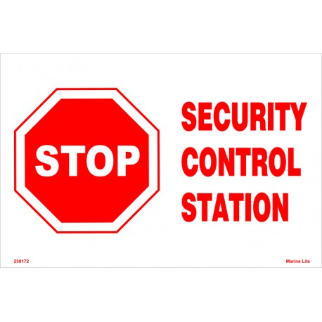 SECURITY CONTROL STATION  (20x30cm) White Vin. IMO symbol 230172WV