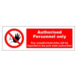 AUTHORISED PERSONNEL ONLY  (10x30cm) White Vin. IMO symbol 230202WV