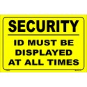 SECURITY ID MUST BE DISPLAYED AT ALL TIMES  (20x30cm) Yellow Vin. IMO symbol 230222YV