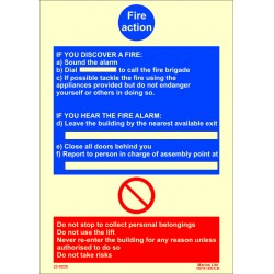 FIRE ACTION. INSTRUCTIONS ON WHAT TO DO IF YOU DISCOVER A FIRE  (30x20cm) Phot.Vin. IMO symbol 230235