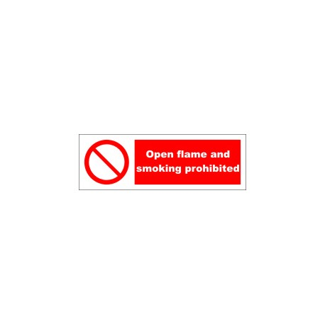 OPEN FLAME AND SMOKING PROHIBITED  (10x30cm) White Vin. IMO symbol 230243WV